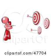 Royalty Free RF Clipart Illustration Of A Red Design Mascot Man Throwing Darts At Targets by Leo Blanchette
