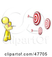 Royalty Free RF Clipart Illustration Of A Yellow Design Mascot Man Throwing Darts At Targets by Leo Blanchette