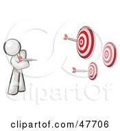 Royalty Free RF Clipart Illustration Of A White Design Mascot Man Throwing Darts At Targets by Leo Blanchette