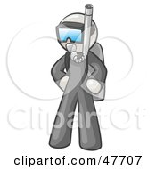 Royalty Free RF Clipart Illustration Of A White Design Mascot Man In Scuba Gear