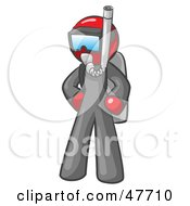Royalty Free RF Clipart Illustration Of A Red Design Mascot Man In Scuba Gear
