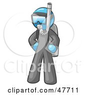 Royalty Free RF Clipart Illustration Of A Blue Design Mascot Man In Scuba Gear