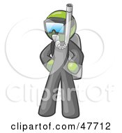 Royalty Free RF Clipart Illustration Of A Green Design Mascot Man In Scuba Gear