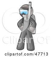 Royalty Free RF Clipart Illustration Of A Gray Design Mascot Man In Scuba Gear