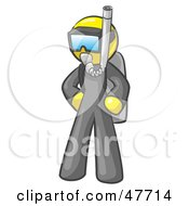 Royalty Free RF Clipart Illustration Of A Yellow Design Mascot Man In Scuba Gear
