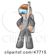 Royalty Free RF Clipart Illustration Of An Orange Design Mascot Man In Scuba Gear