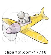Royalty Free RF Clipart Illustration Of A White Design Mascot Man Flying A Plane With A Passenger by Leo Blanchette