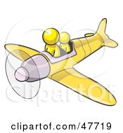 Royalty Free RF Clipart Illustration Of A Yellow Design Mascot Man Flying A Plane With A Passenger