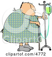 Recovering Male Hospital Patient Walking Around With A Cane And An Intravenous Injection Drip Line Stroller
