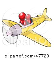 Red Design Mascot Man Flying A Plane With A Passenger
