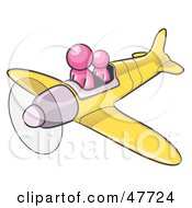 Royalty Free RF Clipart Illustration Of A Pink Design Mascot Man Flying A Plane With A Passenger by Leo Blanchette
