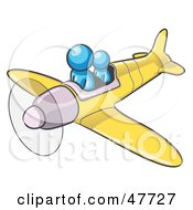 Royalty Free RF Clipart Illustration Of A Blue Design Mascot Man Flying A Plane With A Passenger