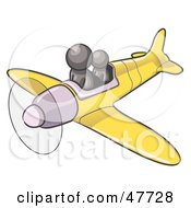 Royalty Free RF Clipart Illustration Of A Gray Design Mascot Man Flying A Plane With A Passenger by Leo Blanchette