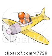 Royalty Free RF Clipart Illustration Of An Orange Design Mascot Man Flying A Plane With A Passenger by Leo Blanchette