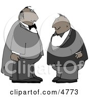 Two Men Wearing Tuxedos At A Wedding Clipart