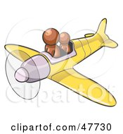 Royalty Free RF Clipart Illustration Of A Brown Design Mascot Man Flying A Plane With A Passenger by Leo Blanchette