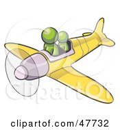 Royalty Free RF Clipart Illustration Of A Green Design Mascot Man Flying A Plane With A Passenger by Leo Blanchette