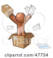 Royalty Free RF Clipart Illustration Of A Brown Design Mascot Man Going Postal With Parcels And Mail