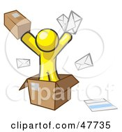Yellow Design Mascot Man Going Postal With Parcels And Mail by Leo Blanchette