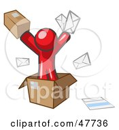 Red Design Mascot Man Going Postal With Parcels And Mail