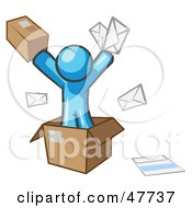 Royalty Free RF Clipart Illustration Of A Blue Design Mascot Man Going Postal With Parcels And Mail by Leo Blanchette