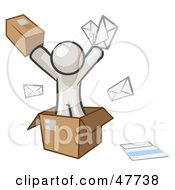 White Design Mascot Man Going Postal With Parcels And Mail