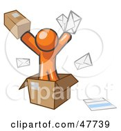 Royalty Free RF Clipart Illustration Of An Orange Design Mascot Man Going Postal With Parcels And Mail by Leo Blanchette