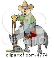 Cowboy Sitting On Horse Eating Hay Clipart