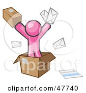Royalty Free RF Clipart Illustration Of A Pink Design Mascot Man Going Postal With Parcels And Mail by Leo Blanchette