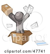 Royalty Free RF Clipart Illustration Of A Gray Design Mascot Man Going Postal With Parcels And Mail by Leo Blanchette