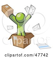 Royalty Free RF Clipart Illustration Of A Green Design Mascot Man Going Postal With Parcels And Mail