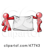 Royalty Free RF Clipart Illustration Of A Red Design Mascot Man And Woman Holding A Blank Banner by Leo Blanchette