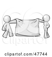 Royalty Free RF Clipart Illustration Of A White Design Mascot Man And Woman Holding A Blank Banner by Leo Blanchette