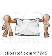 Royalty Free RF Clipart Illustration Of A Brown Design Mascot Man And Woman Holding A Blank Banner by Leo Blanchette