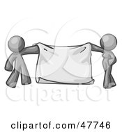 Royalty Free RF Clipart Illustration Of A Gray Design Mascot Man And Woman Holding A Blank Banner by Leo Blanchette