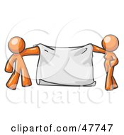 Royalty Free RF Clipart Illustration Of An Orange Design Mascot Man And Woman Holding A Blank Banner by Leo Blanchette