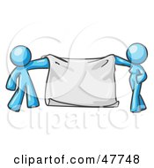 Royalty Free RF Clipart Illustration Of A Blue Design Mascot Man And Woman Holding A Blank Banner by Leo Blanchette