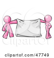 Royalty Free RF Clipart Illustration Of A Pink Design Mascot Man And Woman Holding A Blank Banner by Leo Blanchette