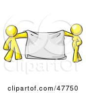 Royalty Free RF Clipart Illustration Of A Yellow Design Mascot Man And Woman Holding A Blank Banner