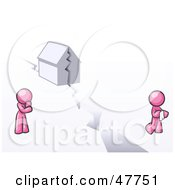 Royalty Free RF Clipart Illustration Of A Pink Design Mascot Man And Woman With A House Divided by Leo Blanchette