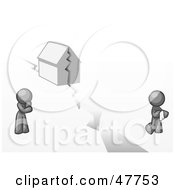 Royalty Free RF Clipart Illustration Of A Gray Design Mascot Man And Woman With A House Divided by Leo Blanchette