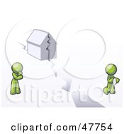 Royalty Free RF Clipart Illustration Of A Green Design Mascot Man And Woman With A House Divided