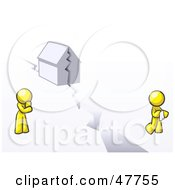 Royalty Free RF Clipart Illustration Of A Yellow Design Mascot Man And Woman With A House Divided