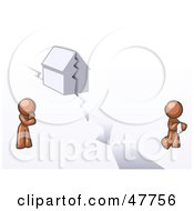 Royalty Free RF Clipart Illustration Of A Brown Design Mascot Man And Woman With A House Divided