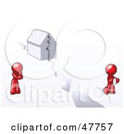 Royalty Free RF Clipart Illustration Of A Red Design Mascot Man And Woman With A House Divided