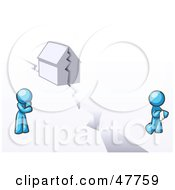 Royalty Free RF Clipart Illustration Of A Blue Design Mascot Man And Woman With A House Divided
