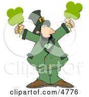 Modern Stereotypical Depiction Of A Leprechaun Holding Four Leaf Clovers