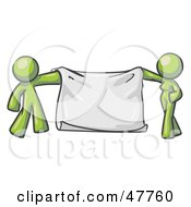 Royalty Free RF Clipart Illustration Of A Green Design Mascot Man And Woman Holding A Blank Banner by Leo Blanchette