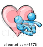 Royalty Free RF Clipart Illustration Of A Blue Design Mascot Couple Embracing In Front Of A Heart by Leo Blanchette