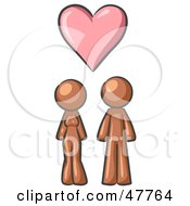 Royalty Free RF Clipart Illustration Of A Brown Design Mascot Couple Under A Pink Heart